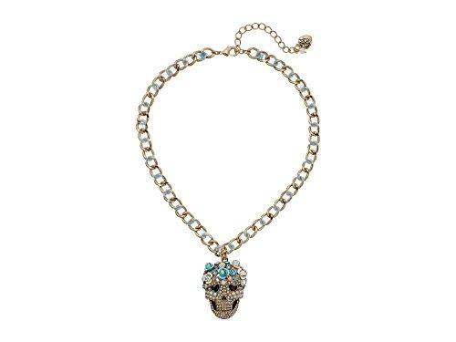 Betsey Johnson-Strass Sugar Skull Halskette-Blue Ribbon Akzent auf Kette