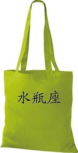 ShirtInStyle Stoffbeutel Chinesische Schriftzeichen Wassermann Baumwolltasche Beutel, diverse Farbe kiwi