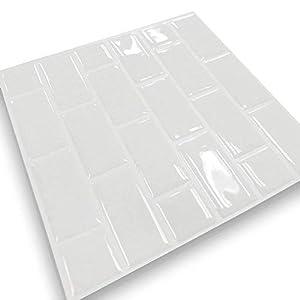 Tile & Sticker 3D Klebefliesen: Selbstklebende 3D-Mosaik-Fliesenaufkleber Aqua,22 x 22 cm, 10er-Set (Weiß Mosaik Klebefliesen) (10)
