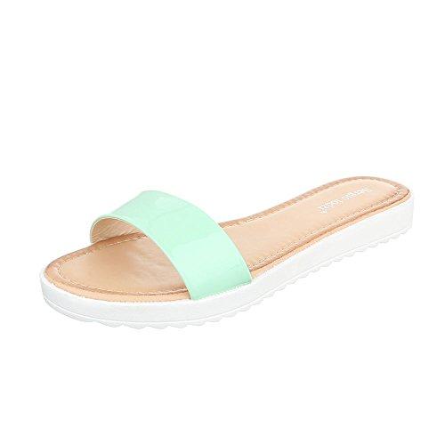 Pantoletten Damenschuhe Jazz & Modern Leichte Ital-Design Sandalen / Sandaletten Hellgrün T165