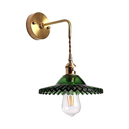 Belief Rebirth Lámpara de Pared de Metal Vintage, luz de Cobre con Vidrio Verde Antiguo Pantalla E26...