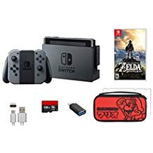 Nintendo Switch 6 Stück Bündel: Nintendo Switch 32 GB Konsole Grau Joy-Con, 128 GB Micro SD Karte, USB-C Adapter, Displayschutzfolie, Konsole Fall & The Legend of Zelda: Breath of The Wild Game Disc