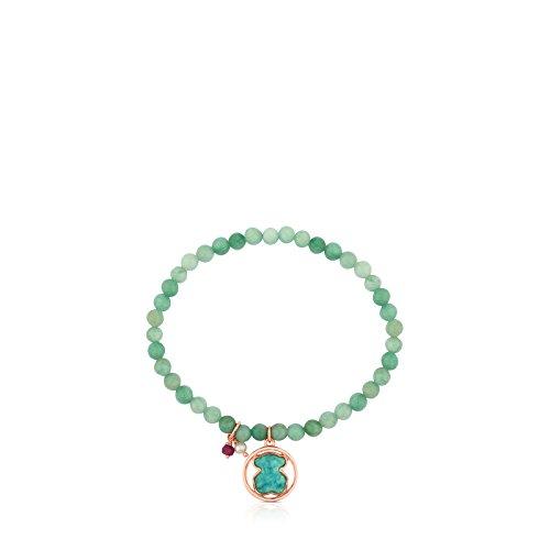 Imagen de pulsera elástica tous camille de plata vermeil rosa y amazonitas con rubí y perla alternativa