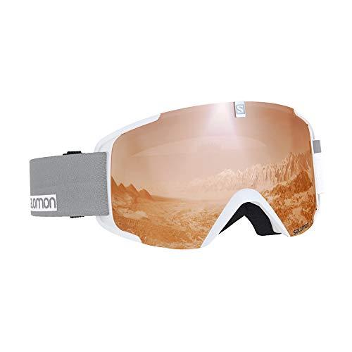 Salomon Maschera da Sci Unisex, Tempo Variabile, Visiera Arancione con Effetto Flash, Sistema Airflow, XVIEW ACCESS, Bianco, L40518700