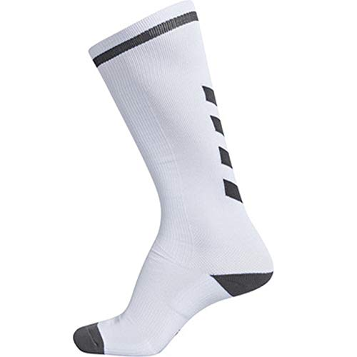 hummel Elite Indoor Sock HIGH, Weiß/Asphalt, 39/42 (Elite Socks Nike Pack)