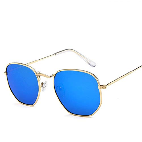 GAOHAITAO Fashion Sunglasses Women Designer Small Frame Polygon Clear Lens Sunglasses Men Sun Glasses Hexagon Metal Frame,MercuryBlue
