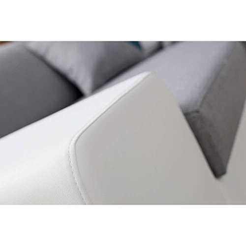 JUSThome BAVERO Polstergarnitur Wohnzimmerset Sofagarnitur (3+2+1) Ecoleder Weiß Beige - 3