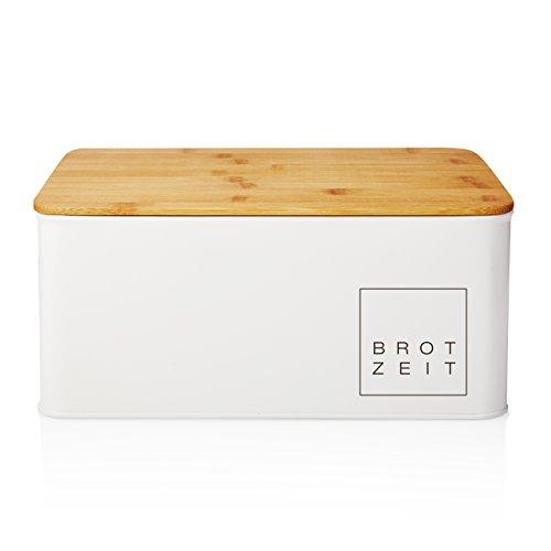 tkasten Brotdose Brotbox aus Metall mit Bambus Deckel, Brotbehälter rechteckig, ca. 30,5 x 23,5 x 14 cm (Keramik Box)