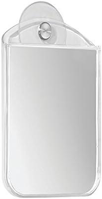 mDesign espejo baño con ventosa - Espejo tocador de plástico y acero inoxidable - Espejo para ducha - Ideal para afeitarse o peinarse dentro de su baño