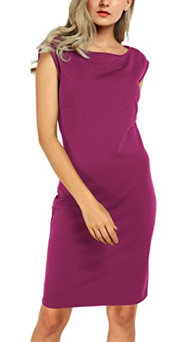Damen U-Boot-Ausschnitt Kleider Elegantes Etuikleid Fuchsia Rose