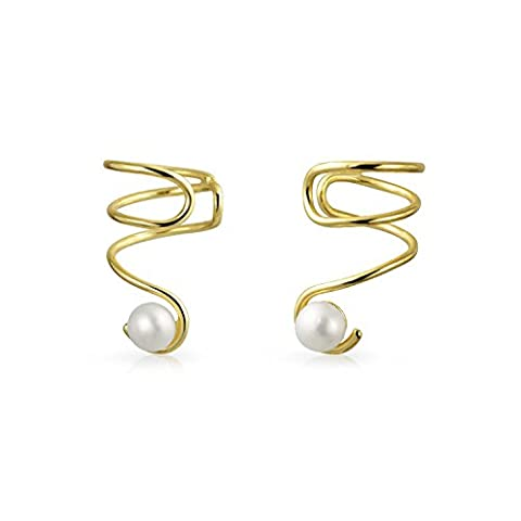 Gold Plated 925 Silver Freshwater Cultured Pearl Ear Cuff Spiral Earrings