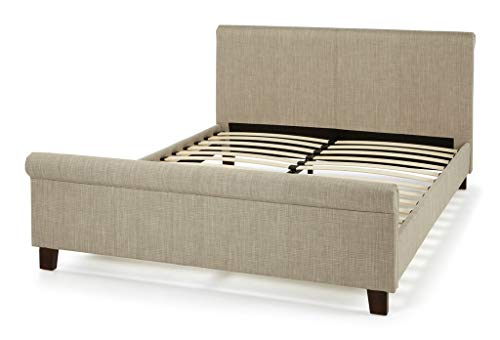 Macy Fabric Bed 6 Colors Option 4ft Small Double, 4ft6 Double, 5ft King, 6ft Queen Size Frame High Head End and Hgh Foot End Board Including Wooden Legs and Slats.