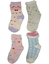 Baby Girl's Ankle Length Cotton Socks (Pack of 4) (Bgirl3-4socks_Pink_3-4 Years)