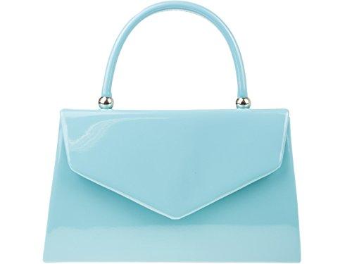Girly HandBags glänzend Clutch Tasche Top Griff Unterarmtasche (Hellblau)