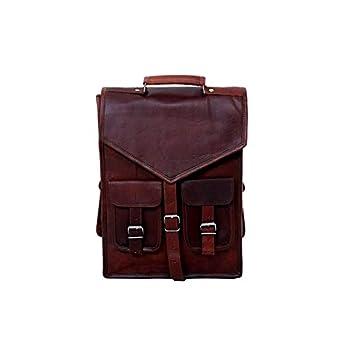 Stahlschnalle 15″Zoll Vintage Rucksack rustikale Büffelleder Messenger Satchel | Laptop | Aktentasche Rucksack Schultertasche Herren