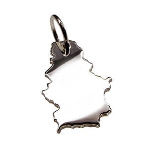 Anhänger Silber Landkarte SERBIEN – 925 Sterling Silber Kettenanhänger massiv für Damen Herren