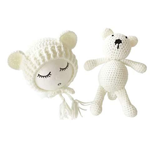 Frecoccialo Unisex Neugeborene Fotografie kostüm Gestrickte Mütze und Puppe Set Fotoshooting Requisiten Funny Bekleidung ()