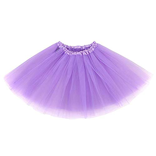 Ruiuzi Damen Tütü Rock Minirock 4 Lagen Petticoat Tanzkleid Dehnbaren Mini Skater Tutu Rock Erwachsene Ballettrock Tüllrock für Party Halloween Kostüme Tanzen (Lavendel)