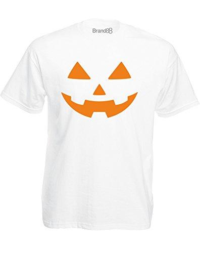 Brand88 - Spooky Pumpkin, Mann Gedruckt T-Shirt Weiß/Orange