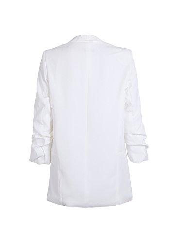Simplee Apparel lungo da donna Blazer Elegante a maniche lunghe risvolto Ufficio Blazer Suit Cardigan con balze Manica Bianco