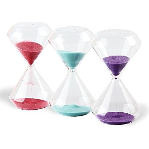 Biloba 3pcs set 4inch Sabbia Timer/Clessidra, 1–3-5minuti e giovani color - 4in Regalo Tubo