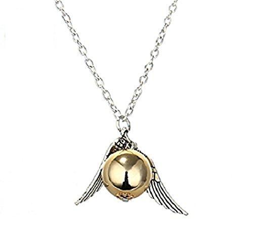 Collar, diseño de Snitch dorada, con perla dorada y alas y cadena pla