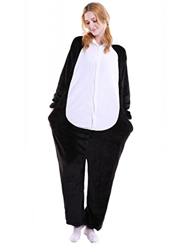 pyjamas Damen Strampelanzug Schwarz Panda S (Schwarzer Strampelanzug Frauen)