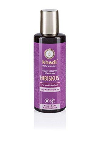 Khadi Ayurvedisches Shampoo Hibiskus 210ml I natürliches Haar-Shampoo für jedes Haar I vegane Haar-Reinigung zur täglichen Haar-Wäsche I besonders sanft zu gereizter Kopfhaut I Naturkosmetik ohne künstliche Zusätze