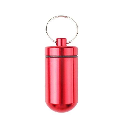 calistouk 1stk Tragbare Pillendose Pillenbox Schlüsselanhänger Aluminium Medikamentendosierer Tablettenbox Wasserdicht Tablettendose rot