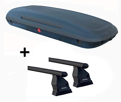 Dachbox VDPCA480 480 Ltr carbonlook + Stahl Dachträger Menabo Tema kompatibel mit Nissan NV200 (Hochdachkombi) ab 2009