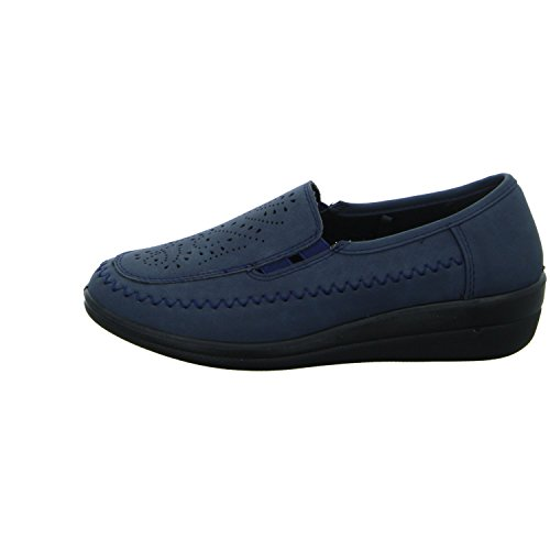 Donna Andrea ZY-71022 Damen Slipper Halbschuh gelocht oder geflochten diverse Böden Blau (Blau)