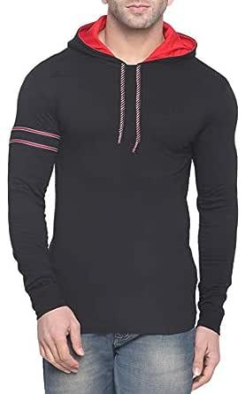 Fenoix Men's Cotton T-Shirt (Small, Dark Black)