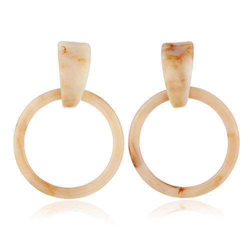 Ohrringe Fashion Antique Acrylic Round Earrings Ladies Long Ivory White Acetate Geometric Hanging Earrings