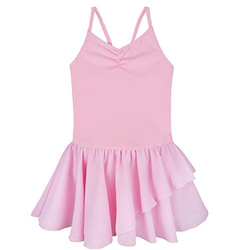 Agoky Mädchen Ballettkleid Gymnastik Camisole Trikot Leotard Ballett Tanzkleid Rüschen Geraffter Tutu Rock Hot Pink 122-128/7-8 Jahre - Geraffte Rock Bühne