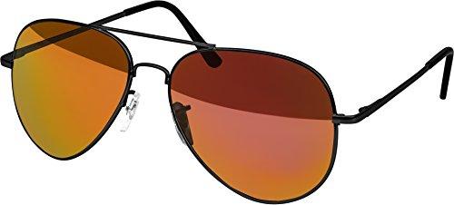 Black Fire Hat (Hochwertige Pilotenbrille Sonnenbrille 70er Jahre Herren & Damen Sunglasses Fliegerbrille verspiegelt (Black/Matt - Fire))