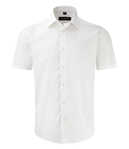 Russell Collection Short Sleeve Easy Care Fitted Shirt M White -
