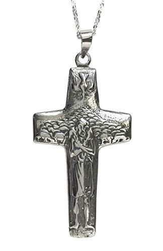 Alylosilver Kreuz Papst Franziskus in Silber im Alter für Mann Frau - Kreuz des Guten Hirten. Enthält 45 cm Silberkette und Geschenkbox