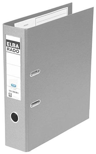 ELBA Kunststoff-Ordner rado plast 8 cm breit DIN A4 grau mit Einsteckrückenschild Ringordner Aktenordner Briefordner Büroordner Plastikordner Schlitzordner