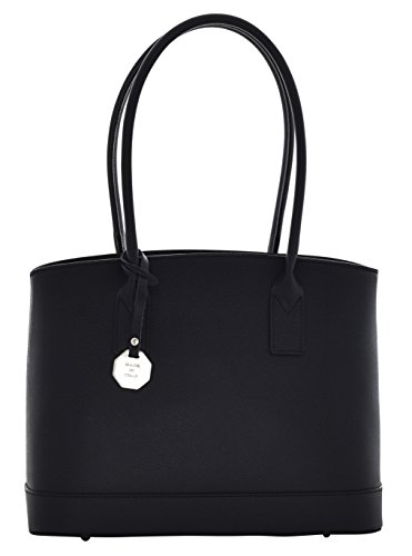 ZANITA Sac porté Épaule Femme Shopper Porté Main Vrai Cuir Fabriqué en Italie Artisanale Noir