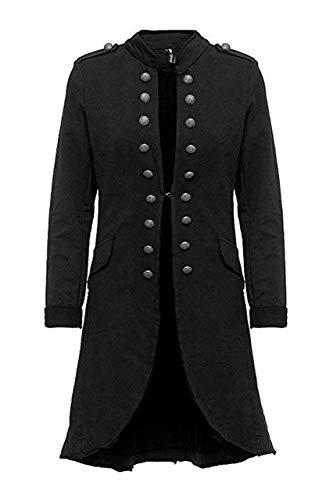 Madonna Damen Blazer Damenjacke Admiral Jacke Military Army Style Lang S -XXL XXXL (schwarz, XL /42)