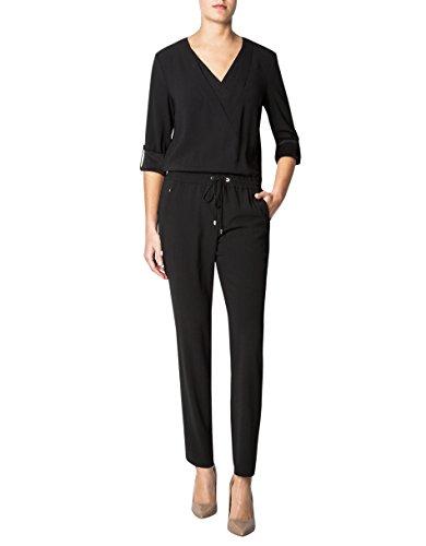 Laurèl Damen Jumpsuit Mikrofaser Einteiler Unifarben, Größe: 38, Farbe: Schwarz Laurel