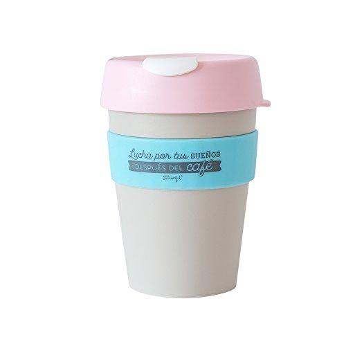 Mr. Wonderful Taza reutilizable KeepCup 'Lucha por tus sueños después del café', mediana