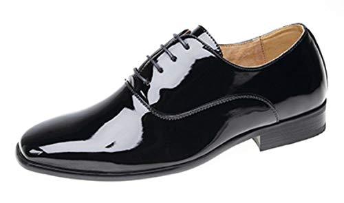 Junior–Sudadera Smart zapatos de boda/baile/Formal acabado de charol., negro, 4 UK