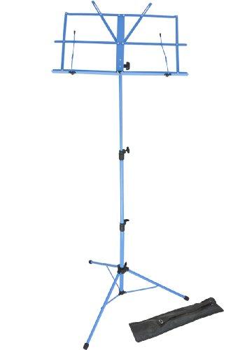 Lawrence LMS02-BL Pupitre pour partitions en métal réglable et pliable avec housse Bleu