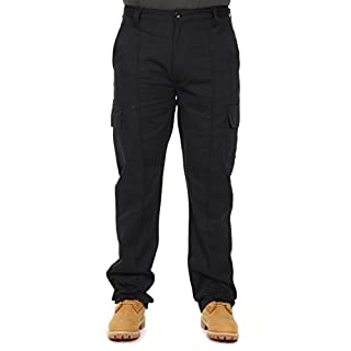 G-Tuff Mens Cotton Cargo Combat Work Trousers Black-Size 38/33