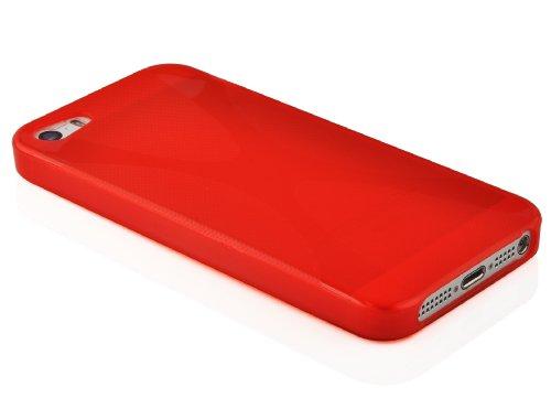 """Cadorabo - Housse Gel (silicone) design """"X"""" pour Apple iPhone 5C - Etui Coque Case Cover Bumper en SEMI-TRANSPARENT ROUGE CERISE"""