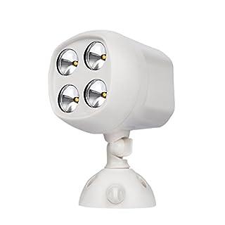 Homgrace Led Strahler Sicherheitslicht mit Bewegungsmelder und Lichtsensor Kabellos Scheinwerfer Super Helles 4 LEDs Draußen Wandleuchte 600Lumen Wasserdicht Außen Spotlight Außenleuchte Weiß
