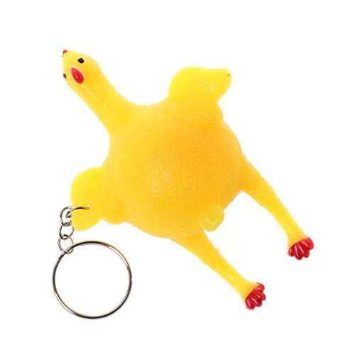 huiouer 1 Stück Gadgets Spielzeug Schlüsselanhänger Kreativ lustig Spuch Tricky Huhn Ei Laying Hens Squeeze Crowded Stress Relief Ball Schlüsselanhänger Geschenk