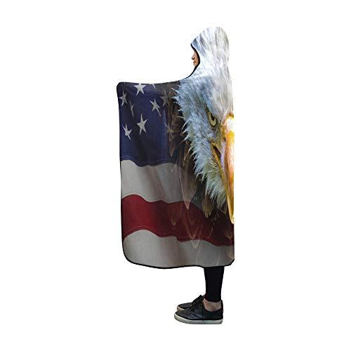 JOCHUAN Mit Kapuze Decke wütend nordamerikanischer Weißkopfseeadler auf Decke 60x50 Zoll Comfotable Mit Kapuze Wurfs-Verpackung