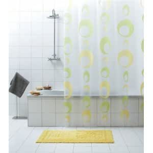 rideau de douche bulles transparent vert jaune 180 x. Black Bedroom Furniture Sets. Home Design Ideas